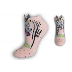 Kotníkové ponožky so zebrou - ružové