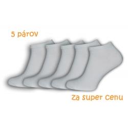Biele kotníkové pánske ponožky. 5-párov