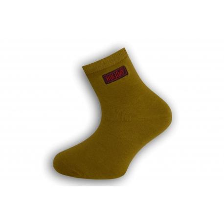 Olivové bavlnené detské ponožky