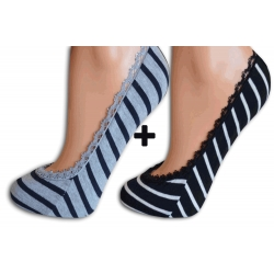 Sivé + čierne balerínkové ponožky