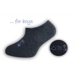 Chlapčenské ponožky so skútrom - tm.sivé