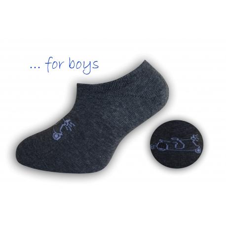 Chlapčenské ponožky s autom - tm.sivé