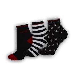Čierne námornícke ponožky - 3-páry