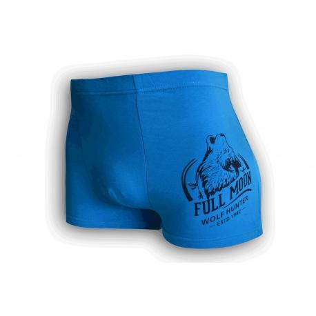 Bavlnené modré boxerky s vlkom