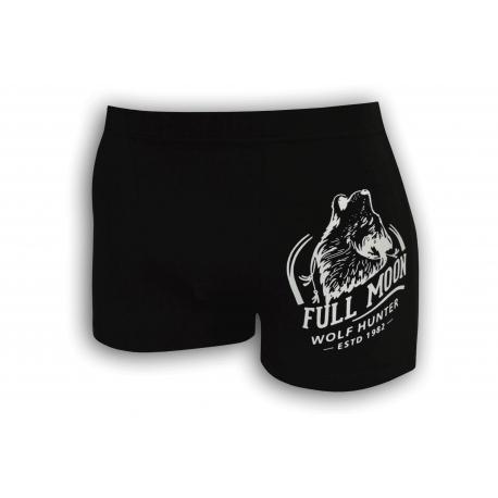 Bavlnené čierne boxerky s vlkom