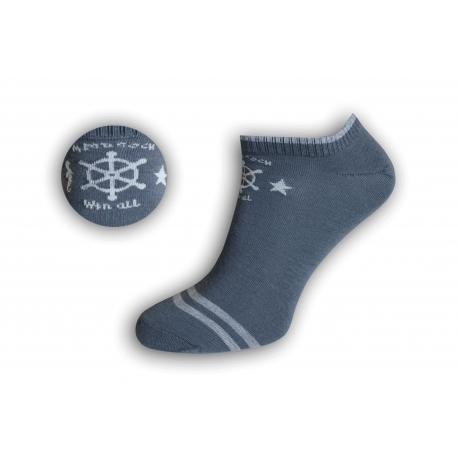 Pánske námornícke kotníkové ponožky – tm.sivé