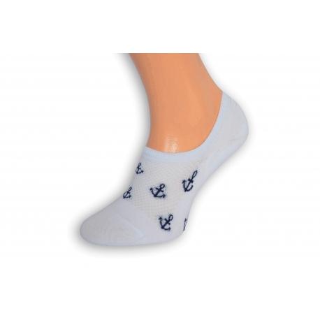 Biele perforované pánske ponožky s kotvami