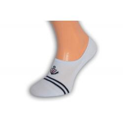 Biele perforované pánske ponožky s kotvou