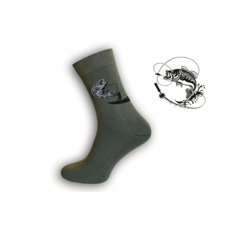 Zelené ponožky pre rybára s udicou