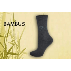 Sivé bambusové ponožky s kvetinami