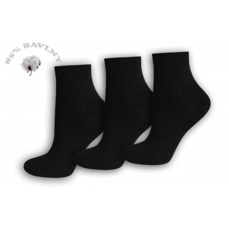 Kotníkové čierne dámske ponožky -  3páry