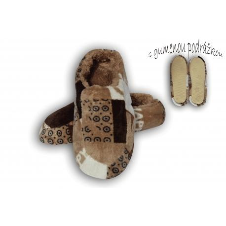 Vzorované pánske papuče - hnedé