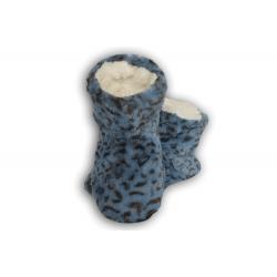 Modré dámske papuče s tygrím vzorom