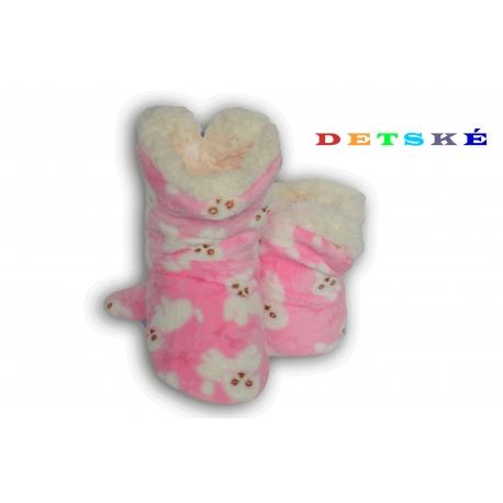 Ružové detské papuče s pudlíkom