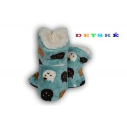 Tyrkysové detské papučky papuče s mačičkami