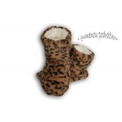 Hnedé dámske papuče s tygrím vzorom