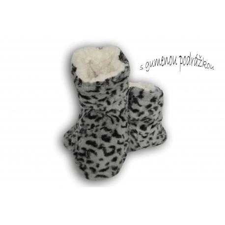 Sivé dámske papuče s tygrím vzorom