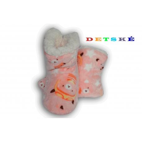 Marhuľové detské papuče s mackom