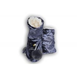 Fialové dámske papuče s labuťou