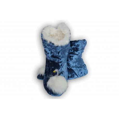 Modré dámske papuče s labuťou