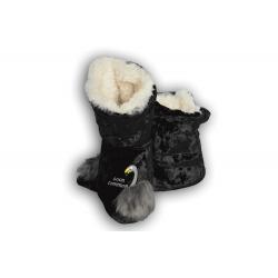Čierne dámske papuče s labuťou