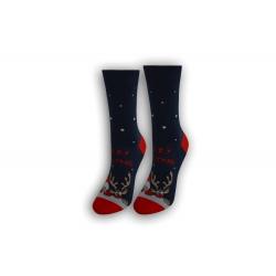 Vianočné tenké dámske ponožky - modré