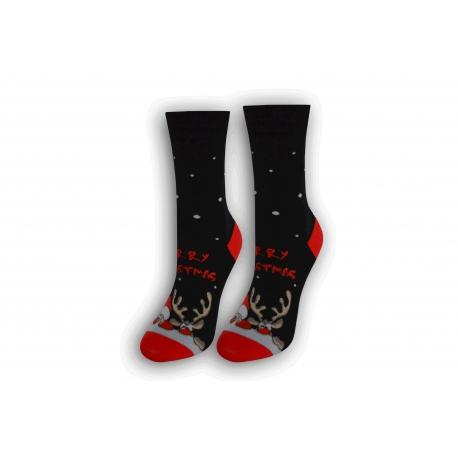 Vianočné tenké dámske ponožky - čierne