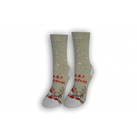 Vianočné tenké dámske ponožky - sivé