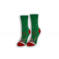 Vianočné tenké dámske ponožky - zelené