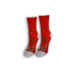 Vianočné tenké dámske ponožky - červené