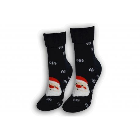 Dámske vianočné ponožky s lemom - čierne