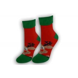 Dámske vianočné ponožky s lemom – červené