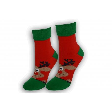Dámske vianočné ponožky s lemom – čierne