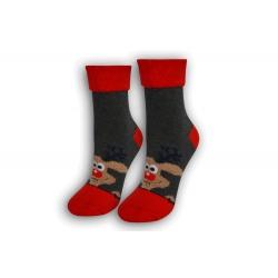 Dámske vianočné ponožky s lemom – sivé