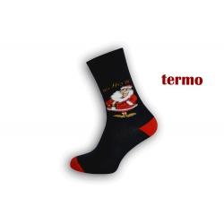 Teplé čierne vianočné ponožky s Mikulášom