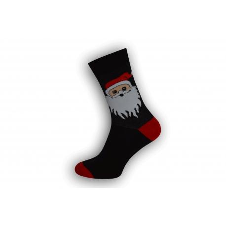 Čierne vianočné ponožky s veľkým Mikulášom