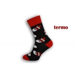 Čierne teplé vianočné ponožky s Mikulášmi