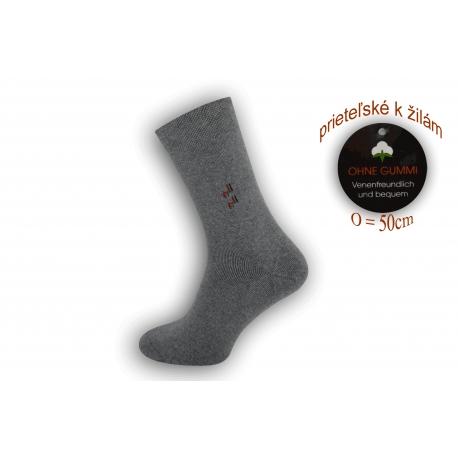 Pánske ponožky na široké nohy - tm.sivé