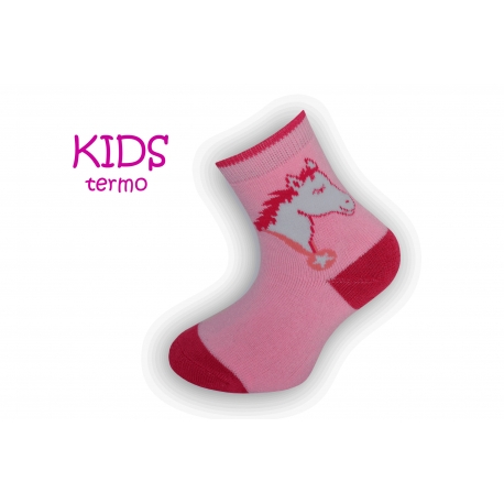 Ružové teplé ponožky s koníkom