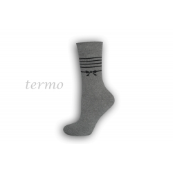 Dámske teplé ponožky s mašličkou - sivé