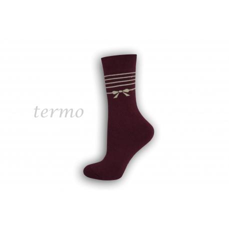 Dámske teplé ponožky s mašličkou - bordové