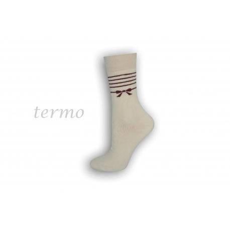 Dámske teplé ponožky s mašličkou -smotanová