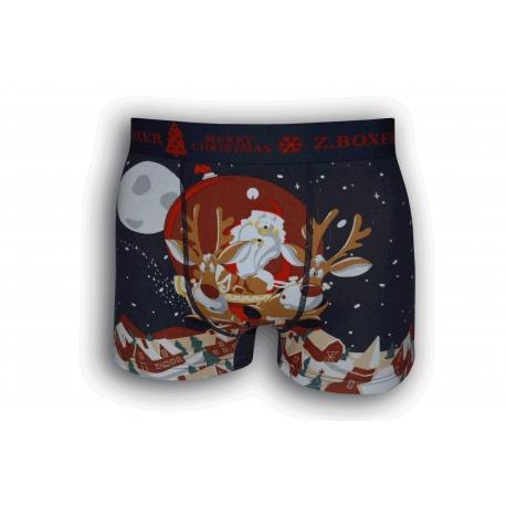 Vianočné modré boxerky so sobmi