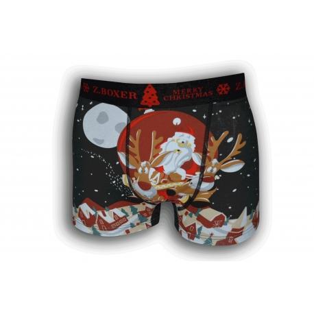 Vianočné čierne boxerky so sobmi