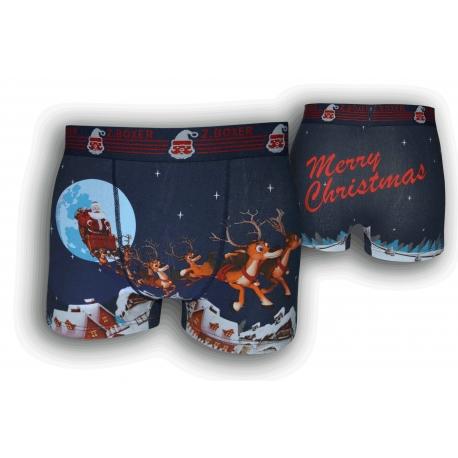 Modré vianočné boxerky so sobmi