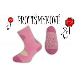 Protišmykové dievčenské ponožky - ružové