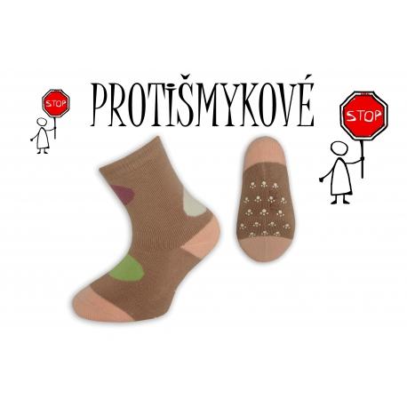 Protišmykové dievčenské ponožky – béžové
