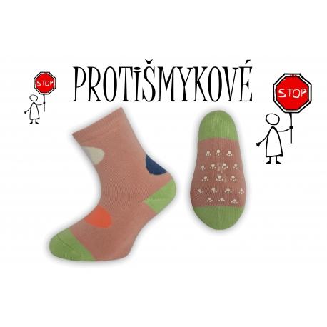 Protišmykové dievčenské ponožky – púdrové