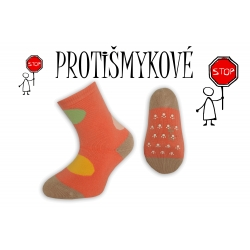 Protišmykové dievčenské ponožky - oranžové