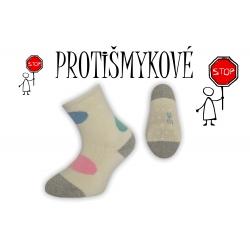 Protišmykové dievčenské ponožky - smotanové